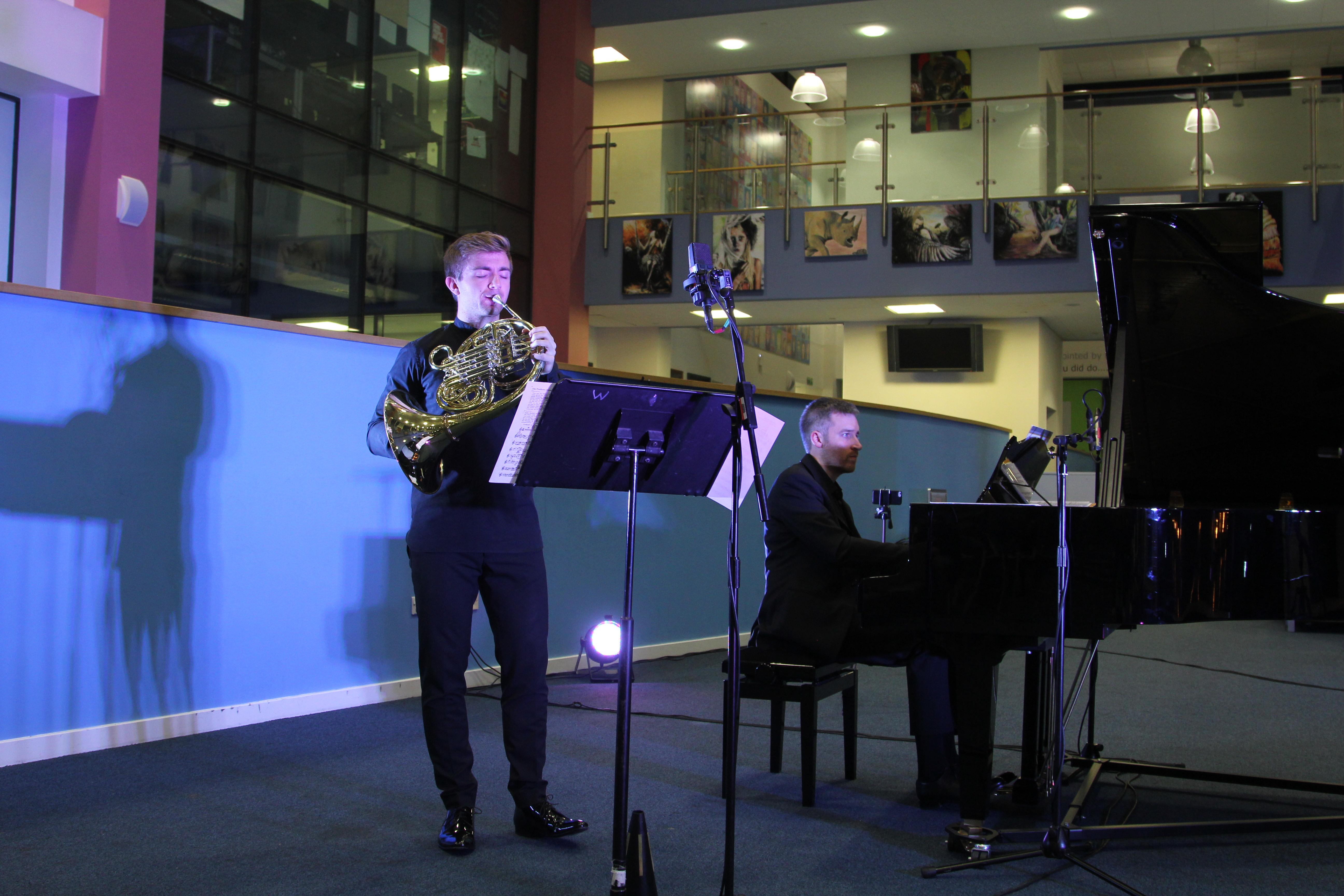 Ben Goldscheider and Richard Uttley perform at Writhlington School